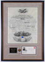 Woodrow Wilson Signed 20.25x28.75 Custom Framed Document Display with FDC Envelope & Coin (JSA LOA)