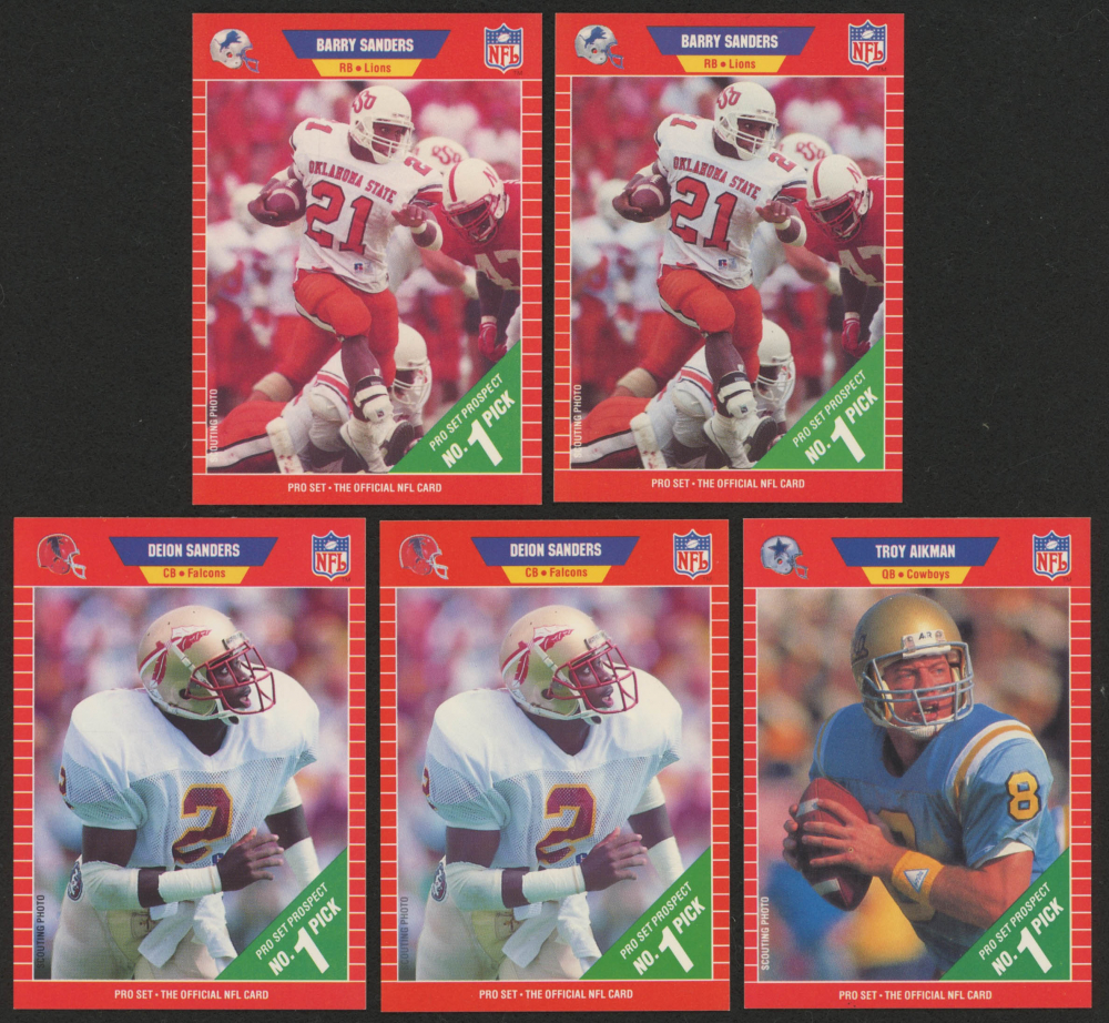 Lot Of 5 1989 Pro Set Football Cards With 494 Barry Sanders