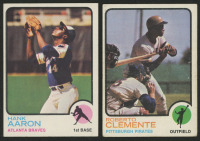Lot of (2) 1973 Topps Baseball Cards with #100 Hank Aaron & #50 Roberto Clemente