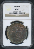 1880-S $1 Morgan Silver Dollar - Colorful Toned (NGC MS 63)