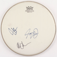 """10.5"""" Rush Drum Head Signed by (3) with Geddy Lee, Neil Peart, & Alex Lifeson (JSA LOA)"""