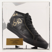 Magic Johnson & Larry Bird Signed Converse Shoe with Display Case (PSA COA)