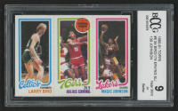 1980-81 Topps #6 34 Larry Bird RC / 174 Julius Erving TL / 139 Magic Johnson RC (BCCG 9)