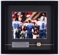Troy Aikman, Emmitt Smith & Michael Irvin Signed Cowboys 15x16 Custom Framed Photo Display with Replica Super Bowl Ring (Mounted Memories COA)