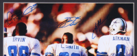 Troy Aikman, Emmitt Smith & Michael Irvin Signed Cowboys 15x16 Custom Framed Photo Display with Replica Super Bowl Ring (Mounted Memories COA) at PristineAuction.com