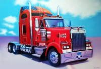 "Frank Karper Signed ""Classic Kenworth"" 34x49 Original Acrylic Painting on Canvas (PA LOA)"