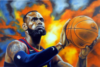 "Hector Monroy Signed ""Lebron James"" 25.75x37 Original Oil Painting on Canvas (PA LOA) at PristineAuction.com"