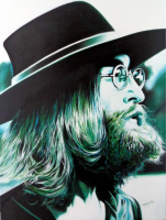"Hector Monroy Signed ""John Lennon"" 31.5x41 Original Oil Painting on Canvas (PA LOA) at PristineAuction.com"