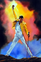 "Hector Monroy Signed ""Freddie Mercury"" 26x35.5 Original Oil Painting on Canvas (PA LOA)"