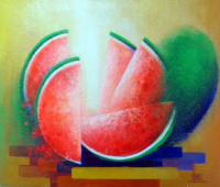 "Jose Alvarez Signed ""The Watermelons"" 21x25 Original Acrylic Painting on Canvas (PA LOA) at PristineAuction.com"