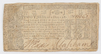 1774 Two Thirds of a Dollar Maryland Colonial Currency Note