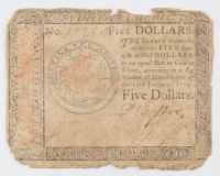 1779 $5 Five Dollars Continental Colonial Currency Note