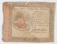 1779 $55 Fifty-Five Dollars Continental Colonial Currency Note