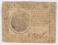 1778 $7 Seven Dollars Continental Colonial Currency Note