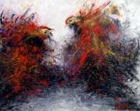 """Jose Alvarez Signed """"Roosters Fight"""" 19x23 Original Acrylic Painting on Canvas (PA LOA)"""