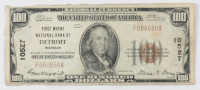 1929 $100 One Hundred Dollars U.S. National Currency Bank Note with Brown Seal (First Wayne National Bank of Detroit, Michigan)