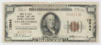 1929 $100 One Hundred Dollars U.S. National Currency Bank Note with Brown Seal (Bank of Italy National Trust and Savings Association San Francisco, California)