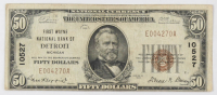 1929 $50 Fifty Dollars U.S. National Currency Bank Note with Brown Seal (First Wayne National Bank of Detroit, Michigan)