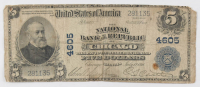 1902 $5 Five Dollars U.S. National Currency Large Bank Note - The National Bank of the Republic of Chicago, Illinois