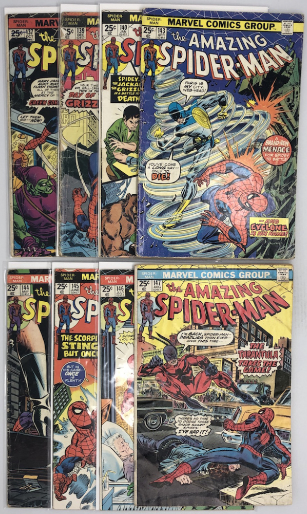 Lot of (8) 1974-75 Marvel Amazing Spider-Man 1st Series Comic Books at PristineAuction.com