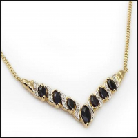 6.58 CT Black Sapphire & Diamond Elegant Necklace