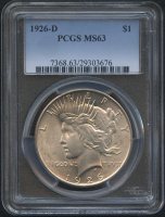 1926-D $1 Peace Silver Dollar (PCGS MS 63) at PristineAuction.com