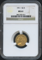 1911 $2.50 Indian Quarter Eagle Gold Coin (NGC MS 61)