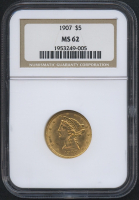 1907 $5 Liberty Head Half Eagle Gold Coin (NGC MS 62)