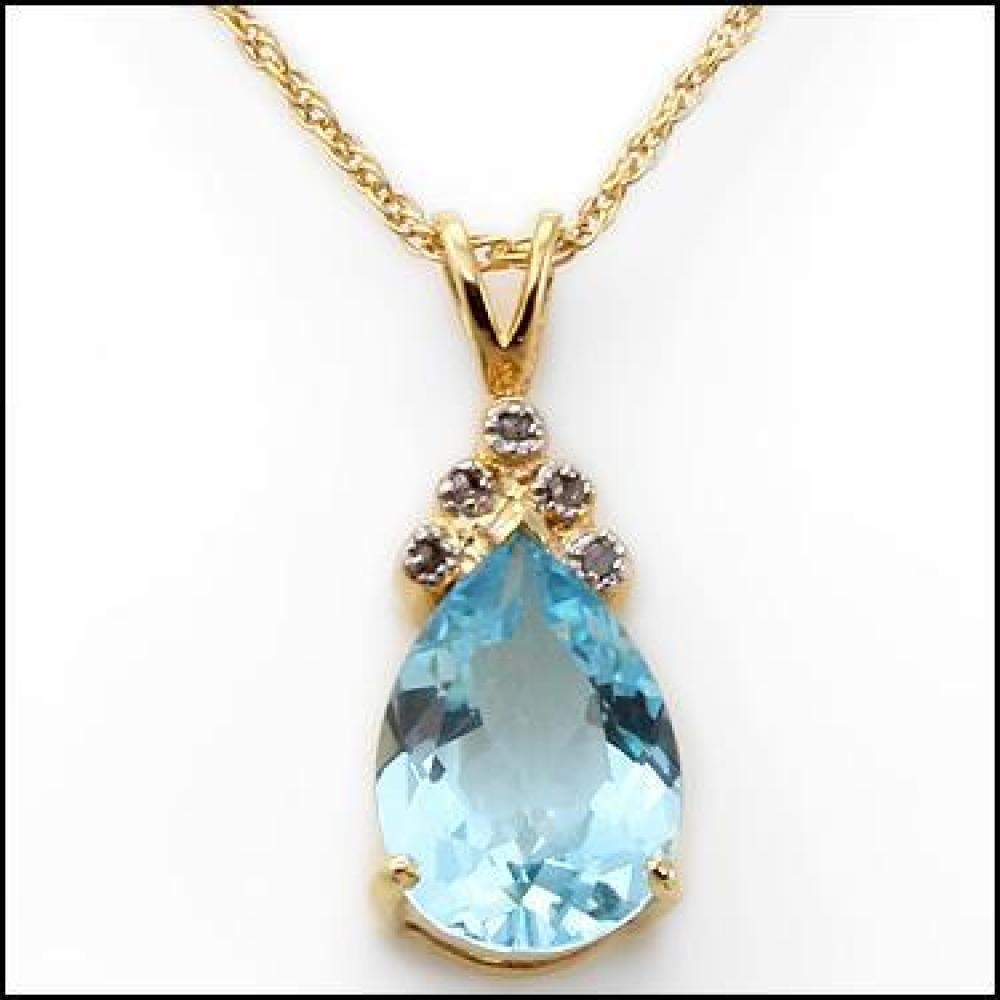 5.297 CT Swiss Blue Topaz & Diamond Elegant Necklace at PristineAuction.com