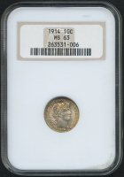1914 10¢ Barber Dime - Rim Toning (NGC MS 63)