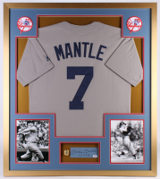 "Mickey Mantle Signed Yankees 32x36 Custom Framed Cut Display Inscribed ""11/17/91"" (PSA LOA)"