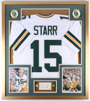 "Bart Starr Signed Packers 32x36 Custom Framed Cut Display With Rings Inscribed ""Best Wishes"" (PSA LOA)"