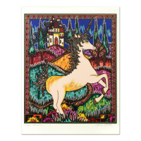 """Mara Abboud Signed """"Stained Glass Unicorn"""" Limited Edition 30x31 Lithograph"""
