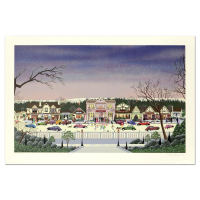 """Nobuo Watanabe Signed """"Christmas In Cambria"""" Limited Edition 39x26 Serigraph at PristineAuction.com"""