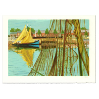 """Laurent Marcel Salinas Signed """"Sailboat"""" Limited Edition 30x21 Serigraph (PA LOA) at PristineAuction.com"""