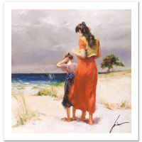 """Pino Signed """"Beach Walk"""" Limited Edition 16x16 Giclee at PristineAuction.com"""