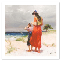 """Pino Signed """"Beach Walk"""" Limited Edition 12x12 Giclee on Canvas at PristineAuction.com"""