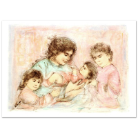 """Edna Hibel Signed """"Marilyn and Children"""" Limited Edition 41x30 Lithograph at PristineAuction.com"""