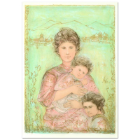 """Edna Hibel Signed """"Tatyana's Family"""" Limited Edition 29x41 Lithograph at PristineAuction.com"""