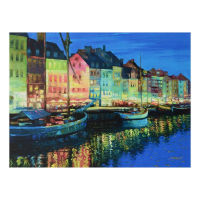 """Howard Behrens Signed """"As Night Falls - Copenhagen"""" Limited Edition 32x24 Giclee on Canvas"""