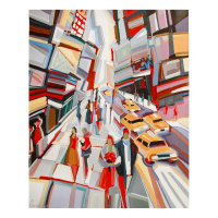 """Natalie Rozenbaum Signed """"Broadway Scene"""" Limited Edition 14x17 Giclee on Canvas at PristineAuction.com"""