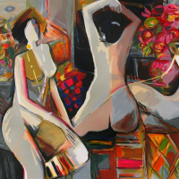 """Isaac Maimon Signed """"Nude Reflections"""" Limited Edition 39x28 Serigraph at PristineAuction.com"""