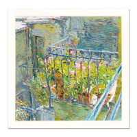 "Marco Sassone Signed ""Le Balcon Blueae"" Limited Edition 37x37 Serigraph at PristineAuction.com"