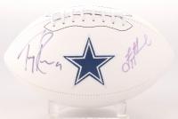Troy Aikman & Tony Romo Signed Cowboys Logo Football (JSA COA)