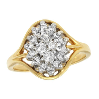 14k Yellow Gold 0.48ctw Diamond Marquise Shaped Cluster Ring