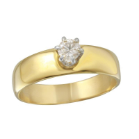 14k Yellow Gold 0.37ctw Round Brilliant Diamond Solitaire Engagement Ring