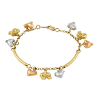 Italian 14k Tri-Color Gold Lucky Animal Charms Bar Link Bracelet, 8""