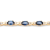 5.31 Carat Genuine Blue Sapphire and White Diamond 14K Yellow Gold Bracelet