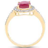 2.54 Carat Glass Filled Ruby and White Diamond 10K Yellow Gold Ring (size 8)