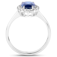 1.68 Carat Genuine Blue Sapphire and White Diamond 14K White Gold Ring (size 7)